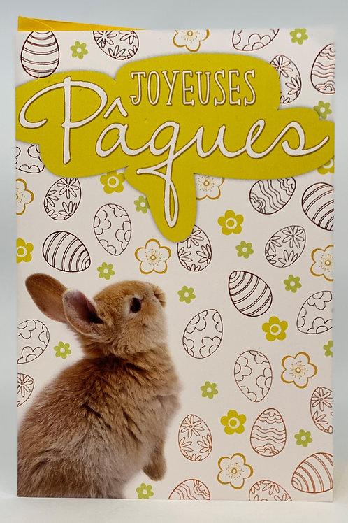 Carte joyeux Pâques avec Lapin et les œufs
