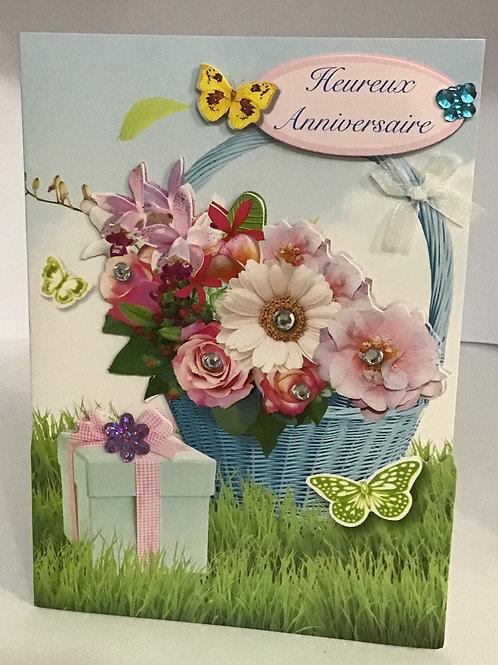 Carte heureux anniversaire-les fleurs et le cadeau