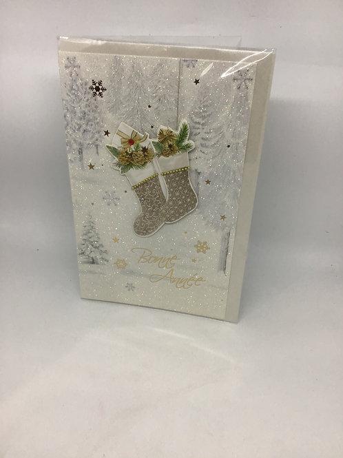 carte bonne année chaussettes Noël