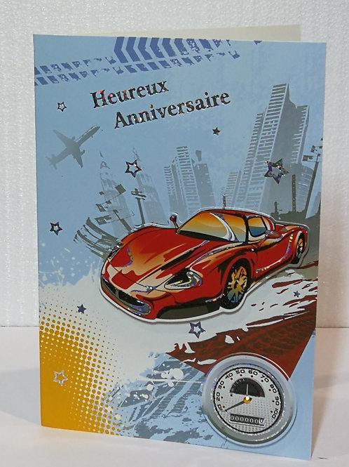 Carte d'anniversaire homme voiture 01