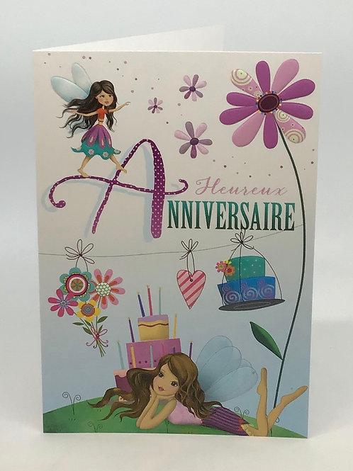 Carte heureux anniversaire pour les filles