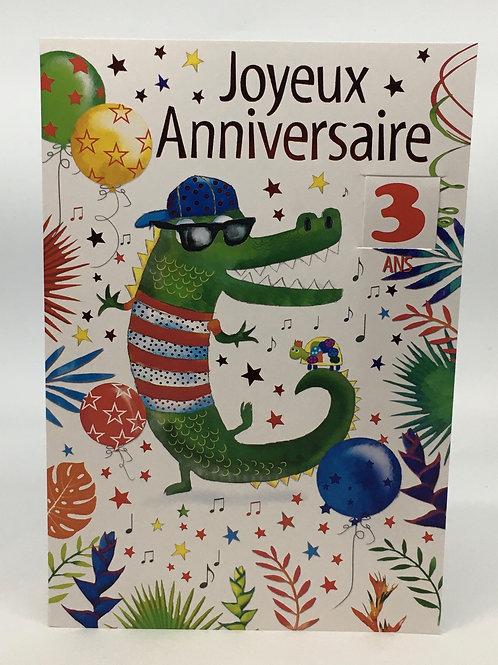 Carte Joyeux Anniversaire avec un crocodile