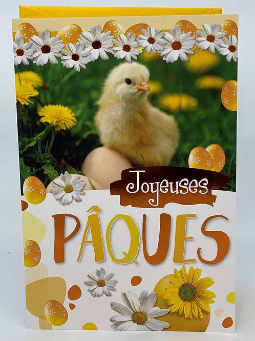 Carte joyeux Pâques avec poussin et les œufs