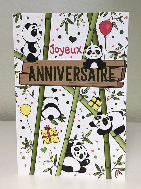 Carte Joyeux anniversaire Panda
