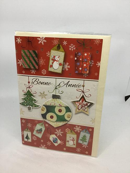 Carte bonne année décorations de Noël