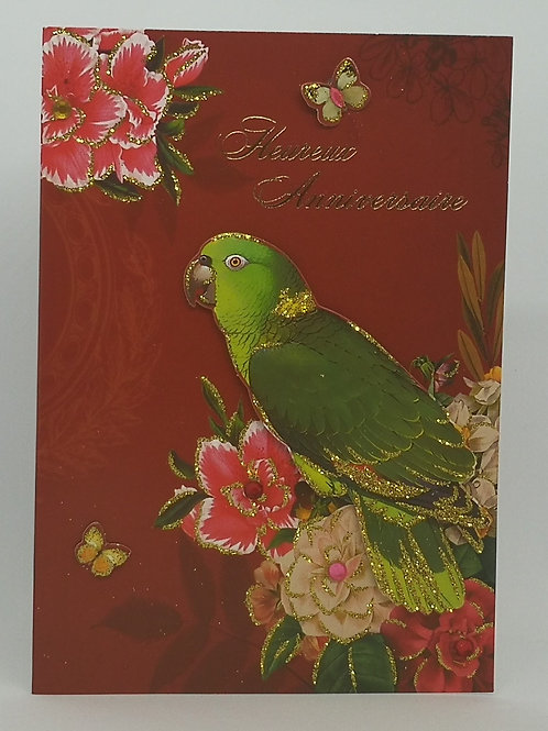 Carte anniversaire femme Perroquet