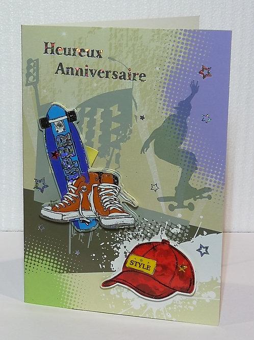 Carte d'anniversaire Skateboard et basckets
