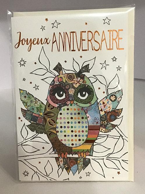 Carte heureux anniversaire- Illustration Chouette