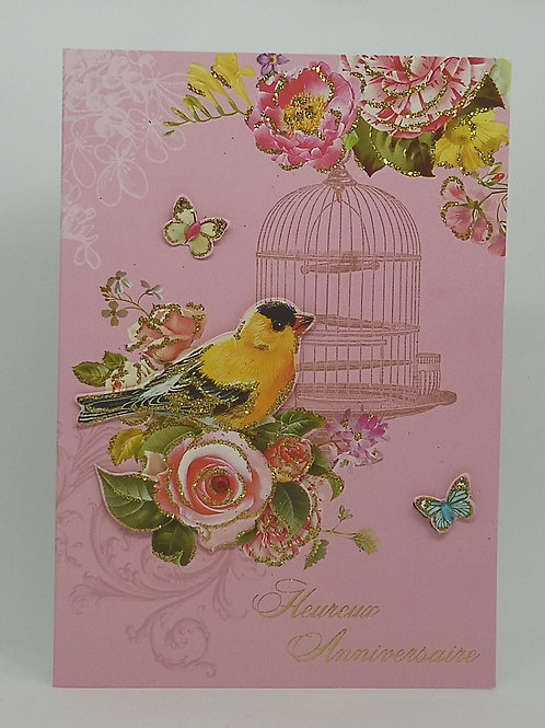 Carte anniversaire femme oiseau et la cage