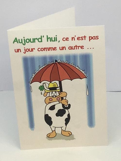 Carte humoristique vache avec parapluie