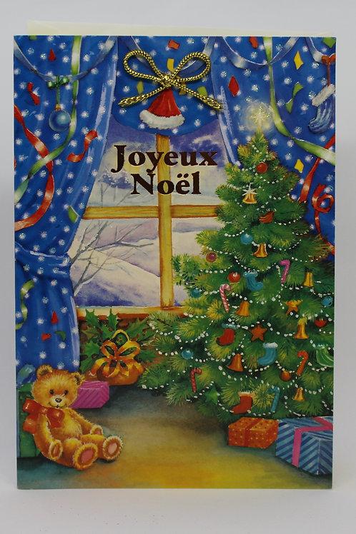 Carte de Joyeux Noël sapin ruban