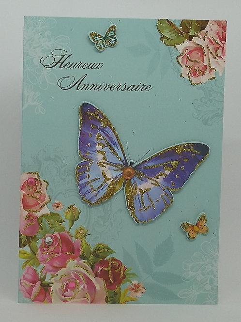 Carte anniversaire femme papillons et fleurs