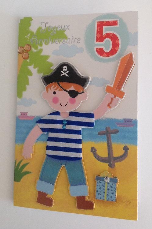 Carte anniversaire pirate 5 ans