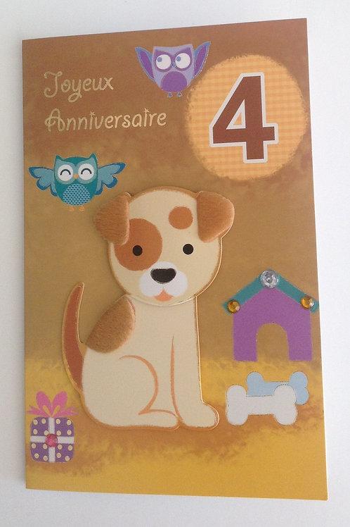 carte anniversaire chien 4 ans