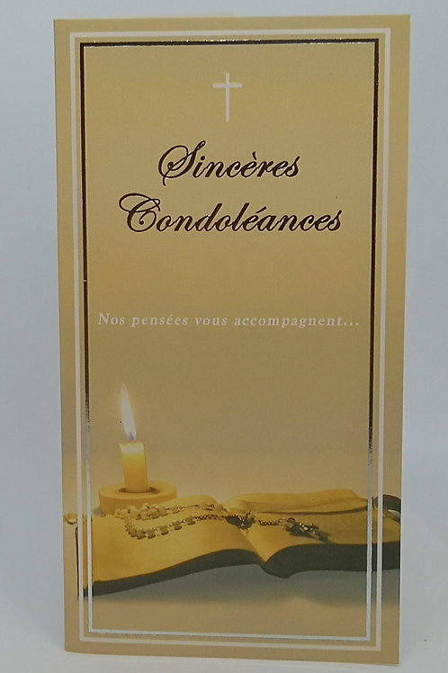 Carte Condoléances bougie et livre