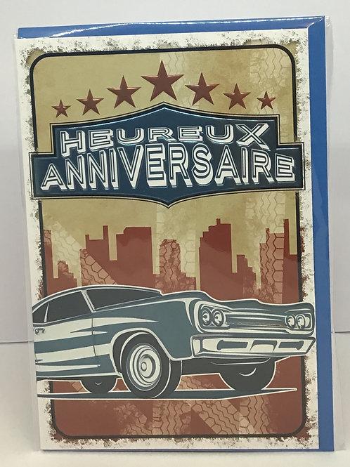 Carte heureux anniversaire voiture américaine 70