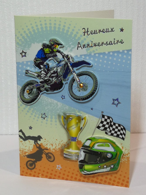 Carte d'anniversaire moto cross 01