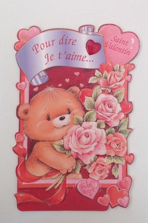Carte St valentin Nounours avec les fleurs
