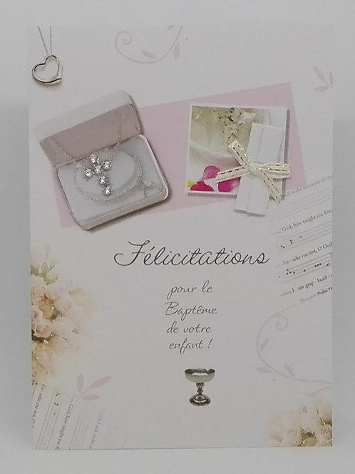 Carte baptême avec fleurs et collier