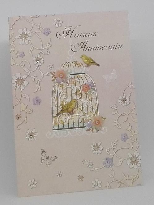 Carte anniversaire femme oiseaux