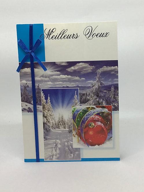 Carte meilleurs voeux sapins enneigés et boule de Noël