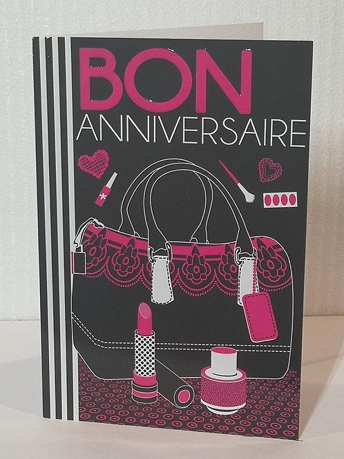 Carte anniversaire femme sac de maquillage