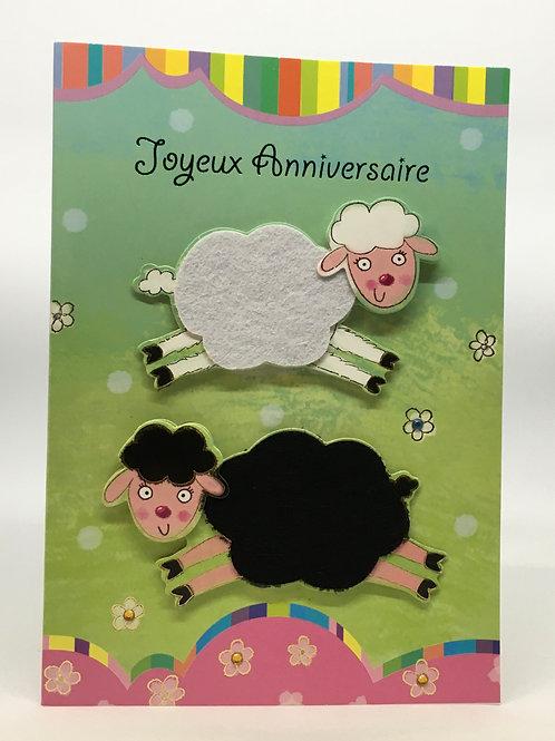 Carte Joyeux Anniversaire avec les moutons