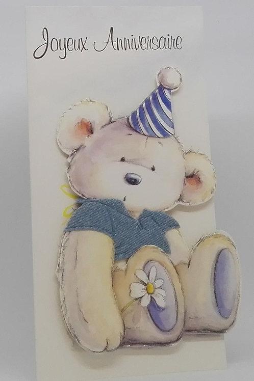 Carte d'anniversaire ourse et fleur