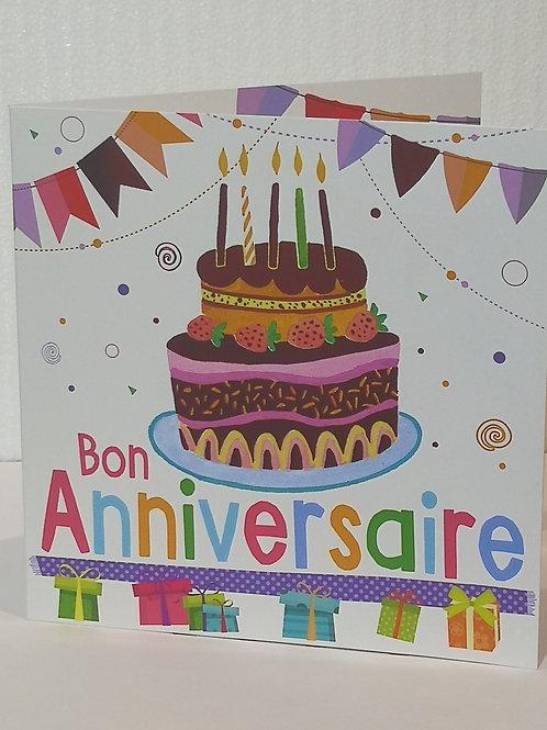 Carte Bon anniversaire Gateau