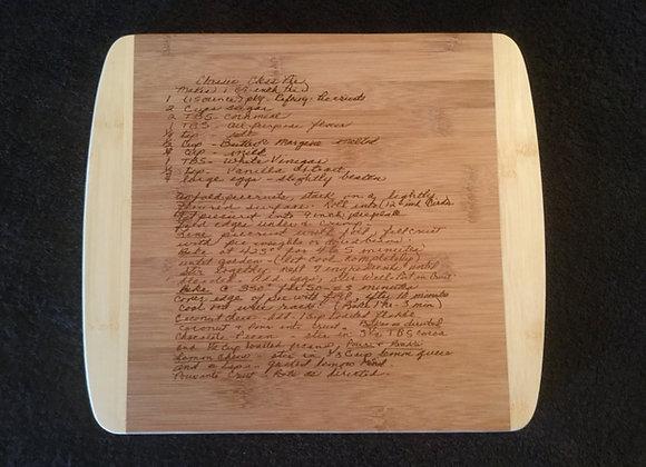 Engraved Handwritten Recipe Cutting Board