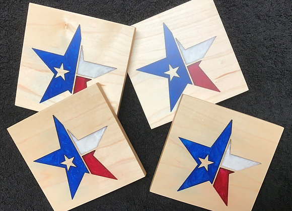 Texas Flag Star Coasters (set of 4)
