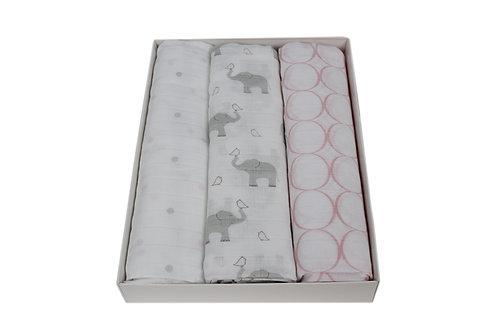 Tripack de mantas de algodón muselina elefantes & pastel pink