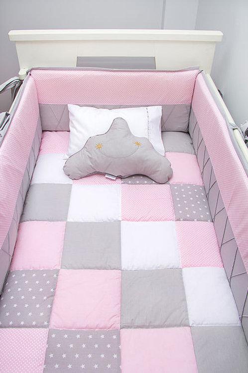 Set de cuna gris c/ rosado y lunares blancos