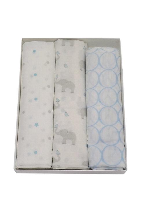 Tripack de mantas de algodón muselina elefantes, celeste pastel