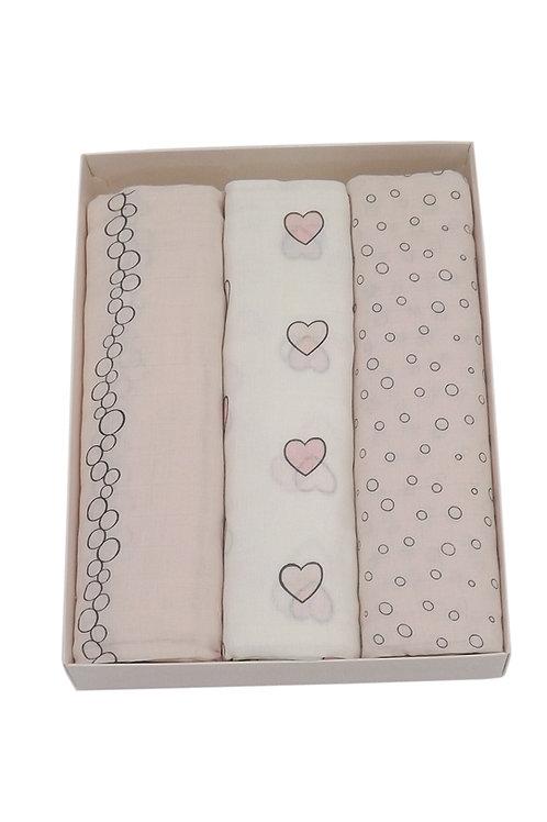 Tripack de mantas de algodón muselina corazones & pastel pink