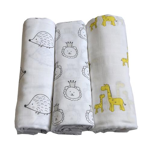 Tripack de mantas de algodón muselina Safari