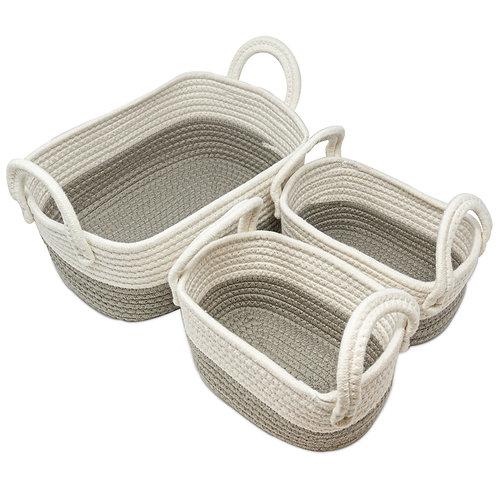 Pack de 3 Cestos Fibra de algodón gris