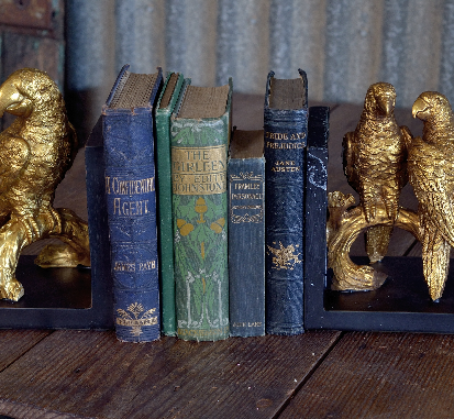 Gold Parrot Bookends