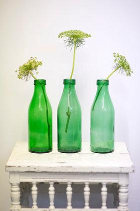 Large Green European Milk Bottle