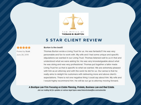 5 Star Client Review for Attorney Thomas B. Burton