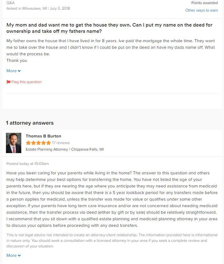 Attorney Thomas B. Burton Answer Regarding Medicaid Planning on Avvo