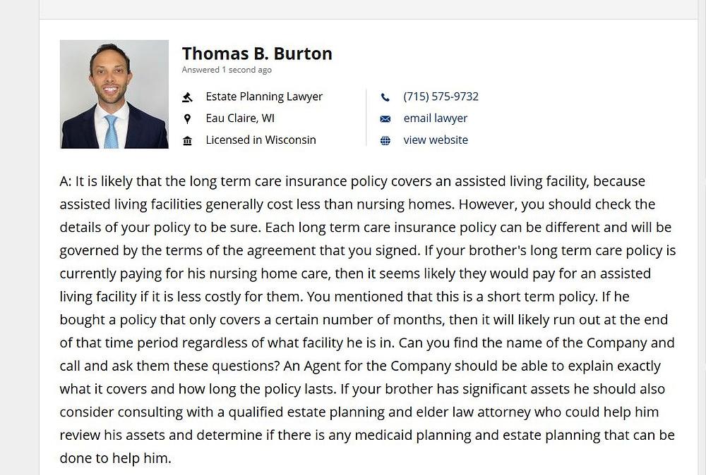 Attorney Thomas B. Burton Answer Regarding Long Term Care Insurance in Wisconsin