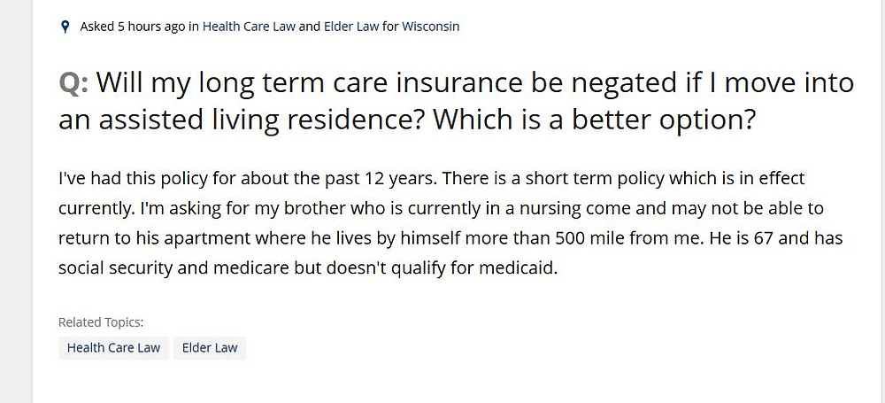 Question on Long Term Care Insurance in Wisconsin