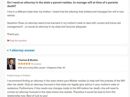 Q&A Series: Do I Need an Attorney in State Where Parent Resides, to Manage Will at Time of a Par