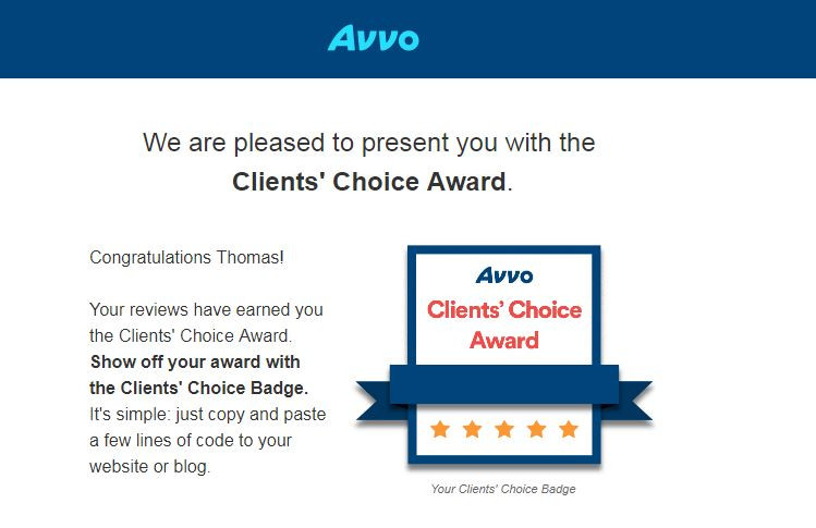 Attorney Thomas B. Burton Client's Choice Award for 2018
