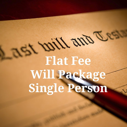 Virtual Basic Will Package for Single Person--Flat Fee