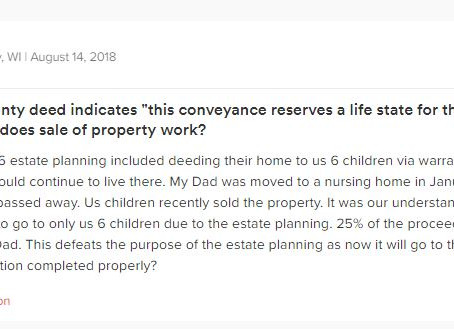Q&A Series: How Does Sale of Property Work When There is a Life Estate Reserved to Father in Nur