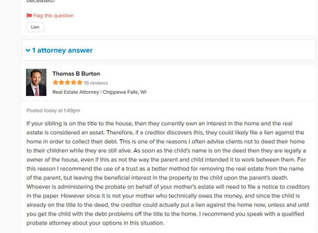 Q&A Series: Can a Creditor Put a Lien on our Mother's House with Siblings Name also on the D