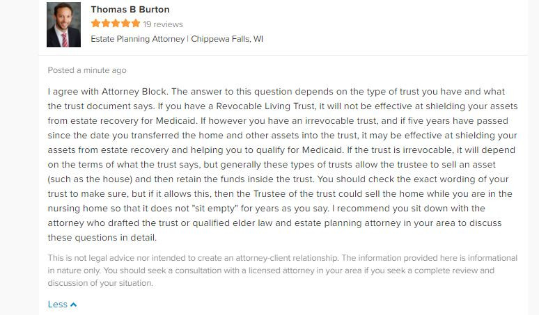 Attorney Thomas B. Burton Answer About Revocable Living Trusts and Nursing Home