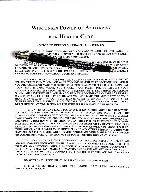 Power of Attorney for Health Care
